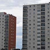 Tower blocks with balconies