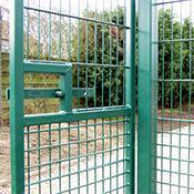 Green Metal Fence with gate