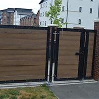 wooden metal gates